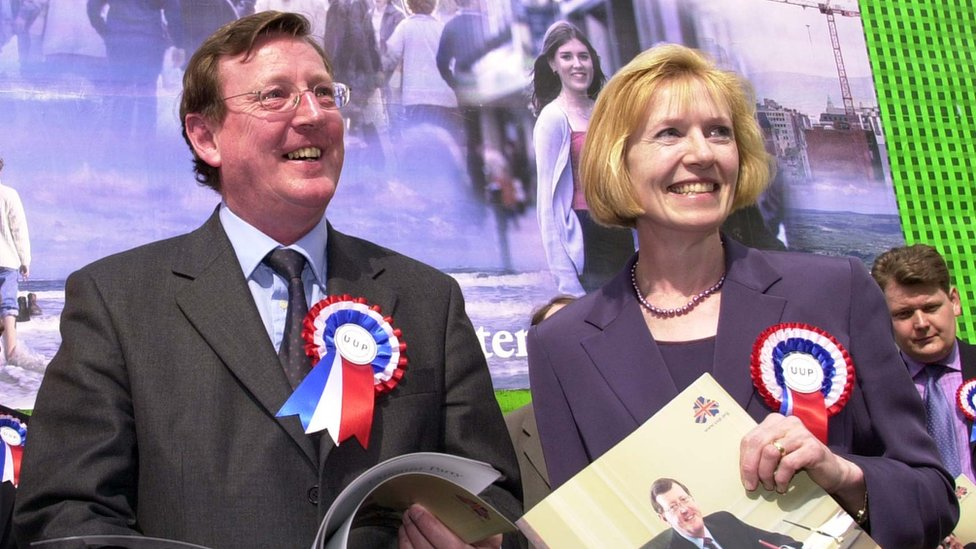 Lady Hermon helped David Trimble to launch the UUP's manifesto in 2001