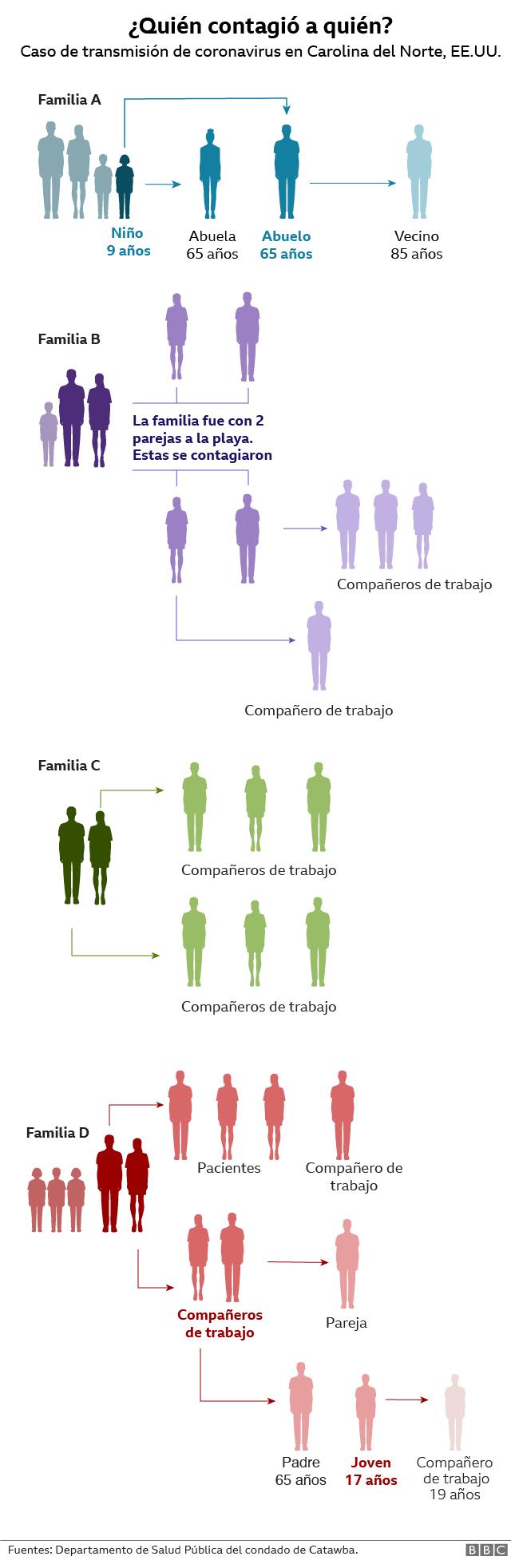 Visualización que muestra quién contagió a quién de covid-19.