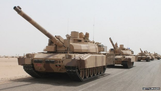 French-made LeClerc tanks of the Saudi-led coalition are deployed on the outskirts of the southern Yemeni port city of Aden
