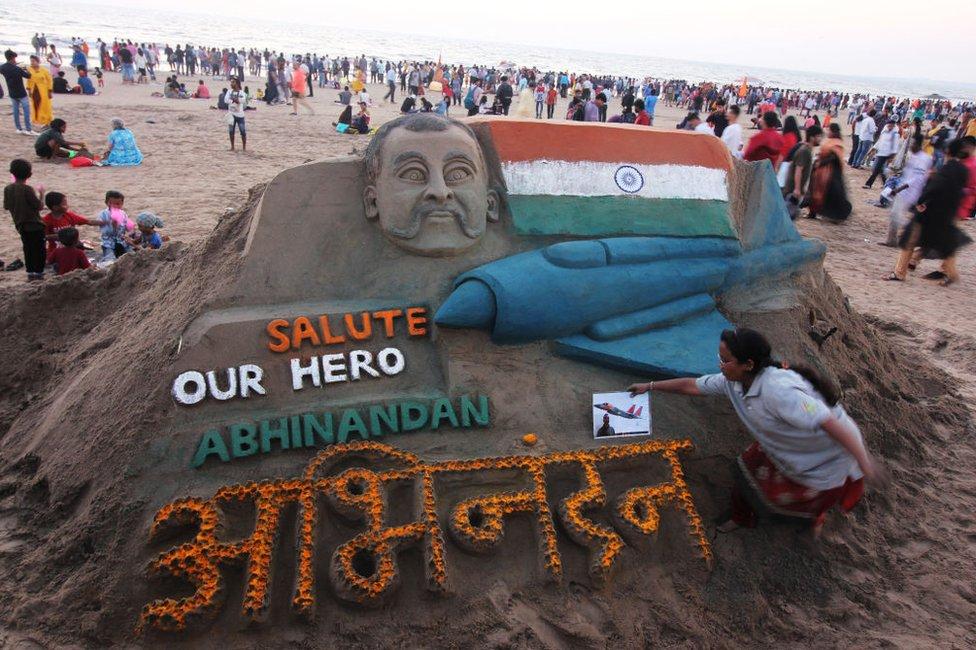 Sand art featuring Wing Commander Abhinandan Varthaman at a beach in Mumbai 2 March 2019.