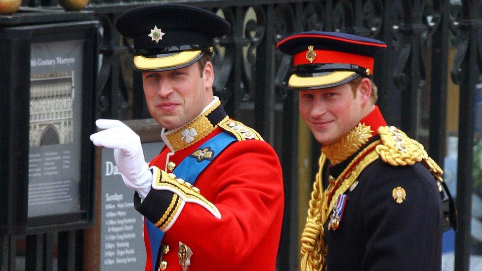 William and Harry at William's wedding