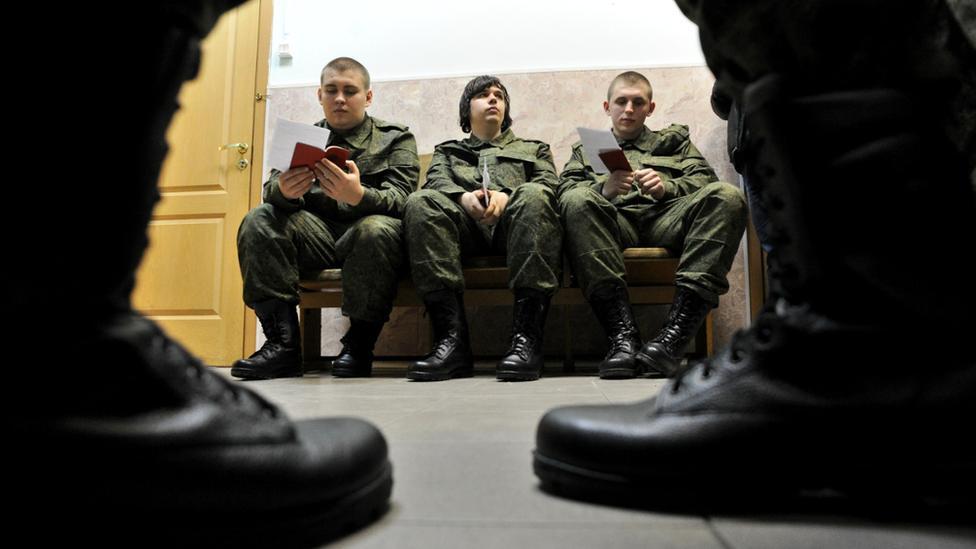 Russian conscripts in St Petersburg