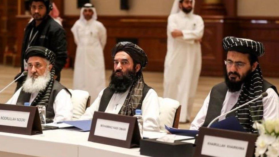 محادثات طالبان مع الولايات المتحدة في الدوحة. يناير/كانون الثاني 2020