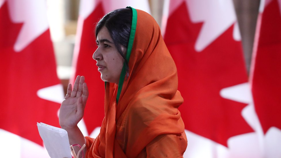 Pakistani Nobel Peace Laureate Malala Yousafzai leaves Parliament hill after receiving an honorary Canadian citizenship in Ottawa, Ontario, April 12, 2017