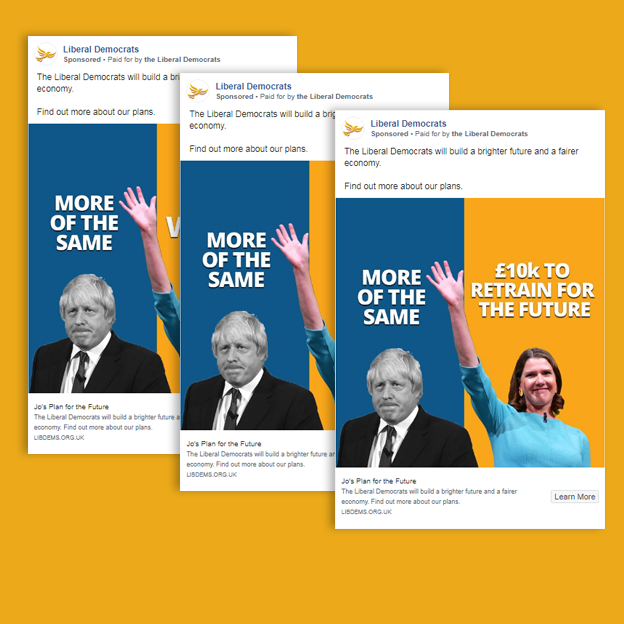 Three political adverts by the Liberal Democrats