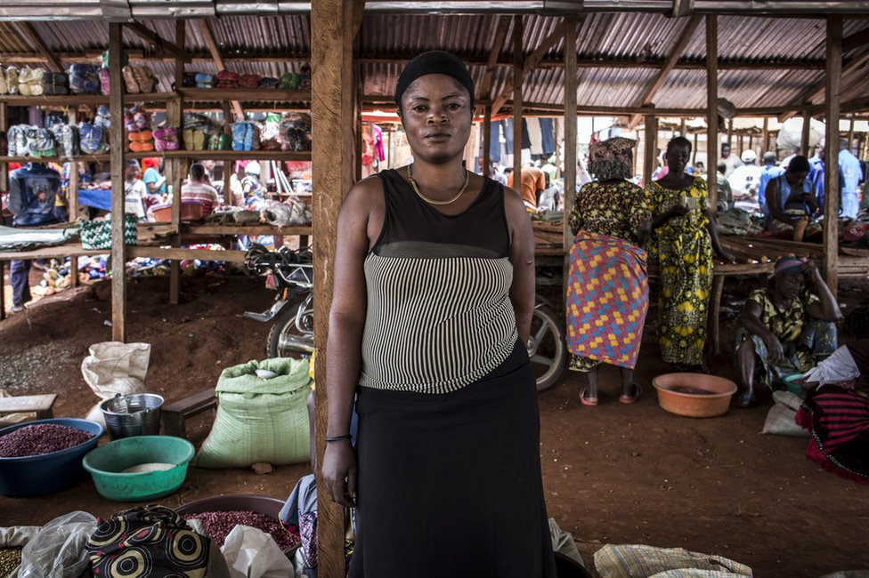 Portrait of Rose, who has had her name changed for protection, a market trader in Mangina, DRC