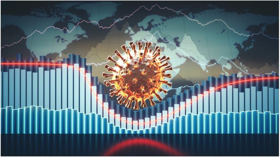 Ilustración de la recesión del coronavirus
