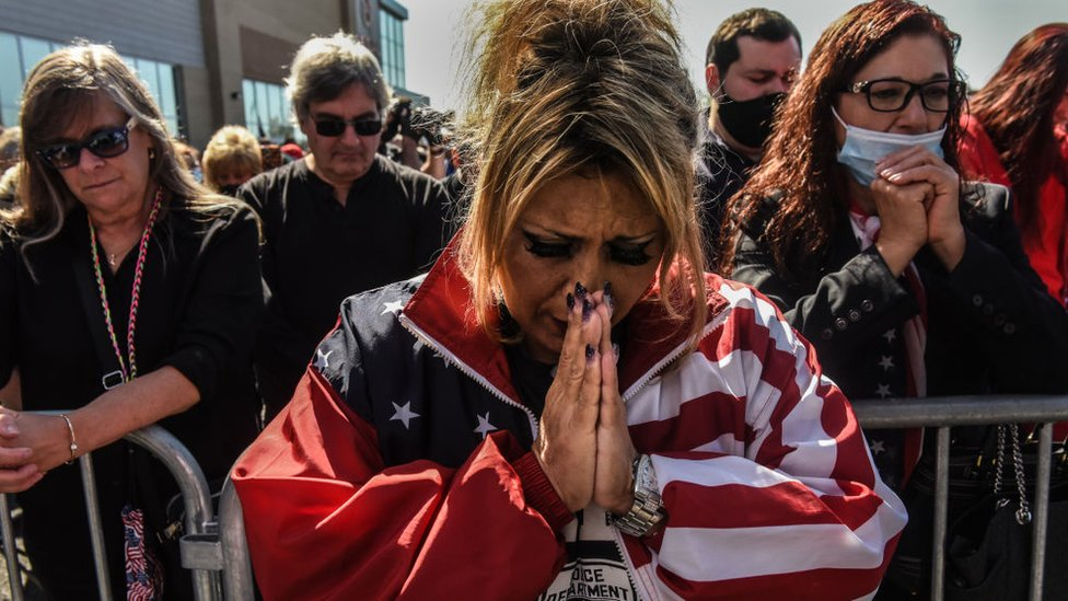 Daniela Taormina prays during a pro-Trump rally on October 3, 2020 in the borough of Staten Island in New York City.
