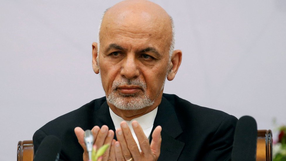 Afghan President Ashraf Ghani prays during a peace and security cooperation conference in Kabul, Afghanistan 6 June 2017