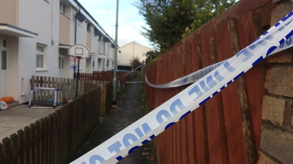 Police tape around an alleyway that backs onto a row of houses
