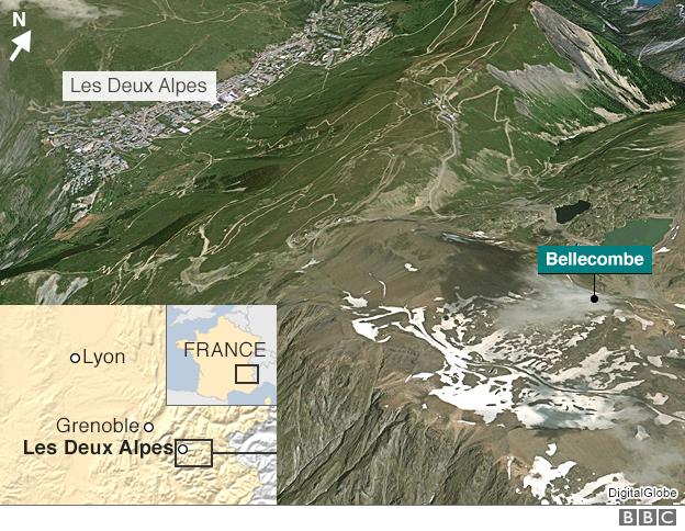 Map showing Les Deux Alpes