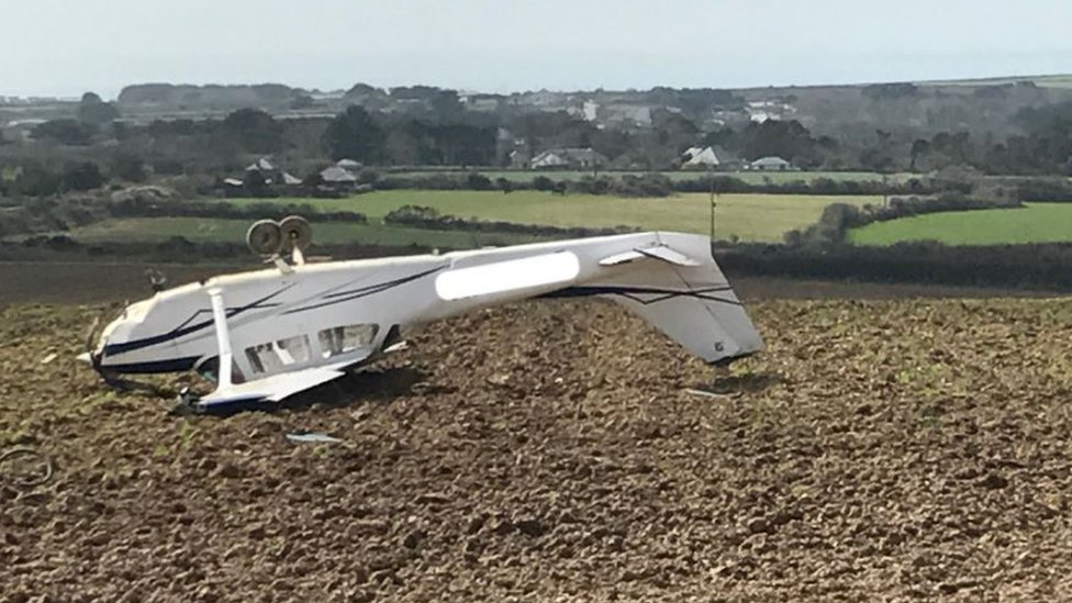 Plane crashed in field 'after bang and vibration on board'
