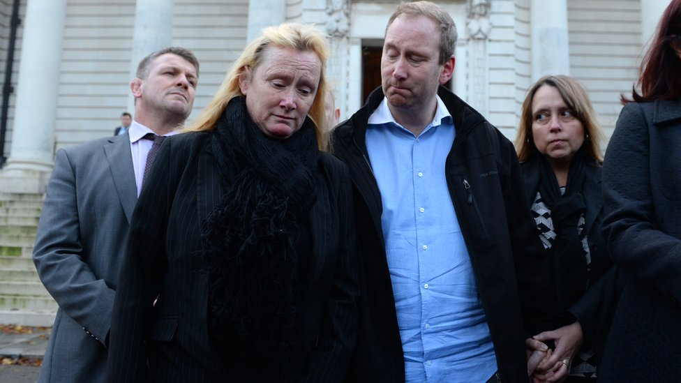 Tracey Woodford's family outside Cardiff Crown Court