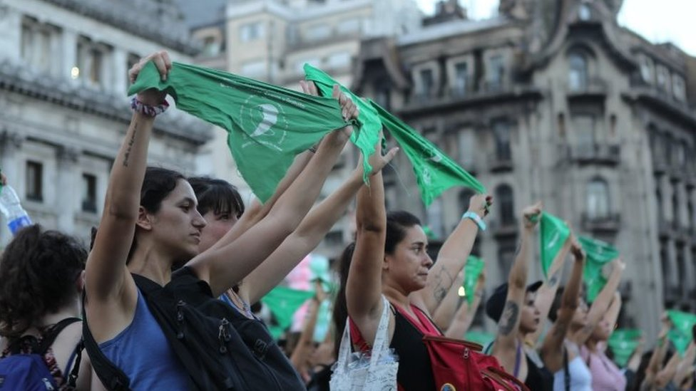 "People participate in a rally on the occasion of the first anniversary of the ""panuelazo"" (protest with handkerchief) for the legalisation of abortion, in Buenos Aires, Argentina, 19 February 2019."