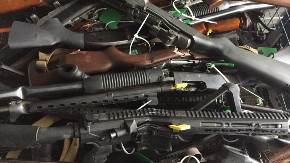 In this handout image provided by New Zealand Police, collected firearms are seen at Riccarton Racecourse on July 13, 2019 in Christchurch, New Zealand