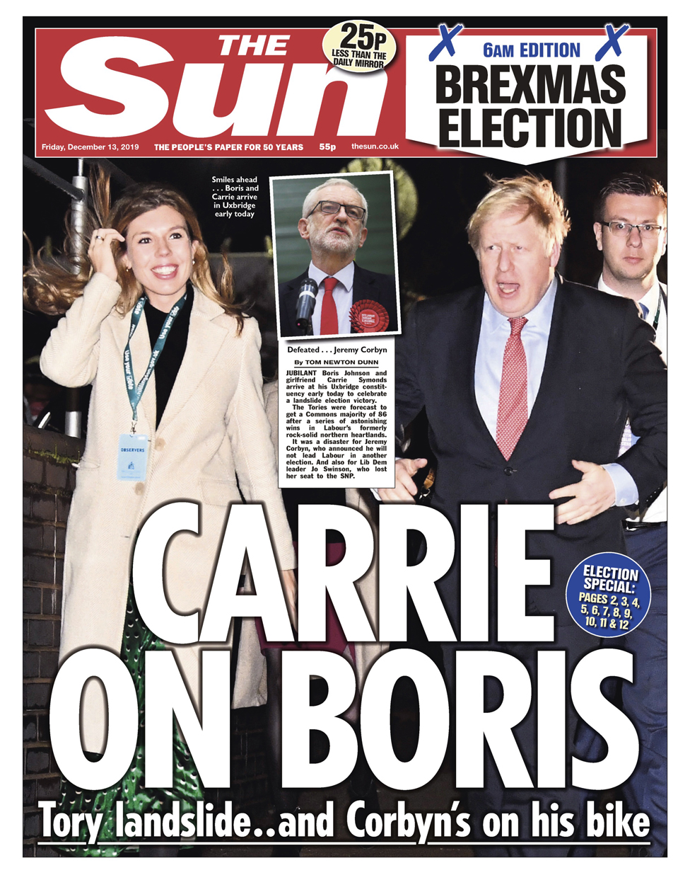 Friday's Sun front page (late edition)