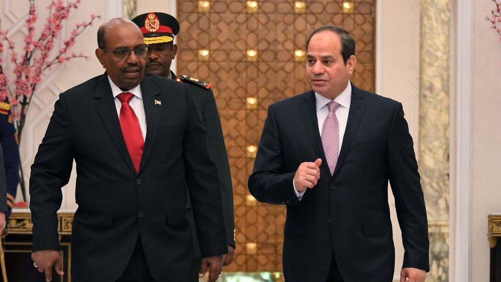 الرئيس المصري عبد الفتاح السيسي ونظيره السوداني عمر البشير