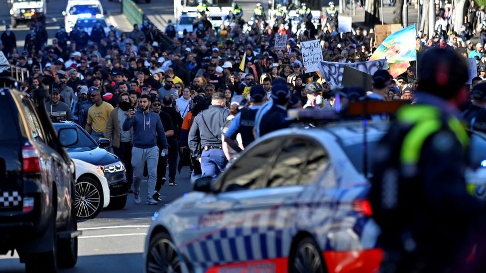 Manifestantes en Sídney.