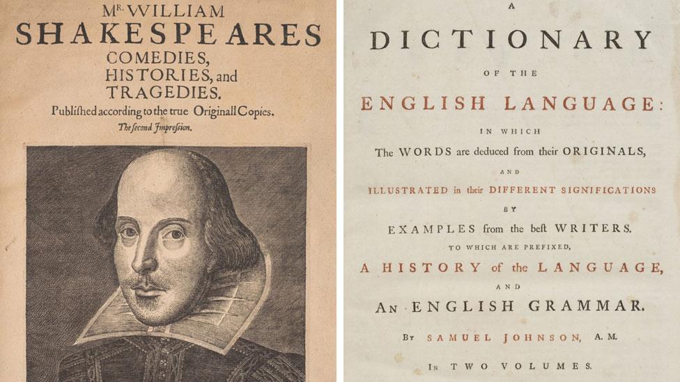 Shakespeare Second Folio and Samuel Johnson dictionary