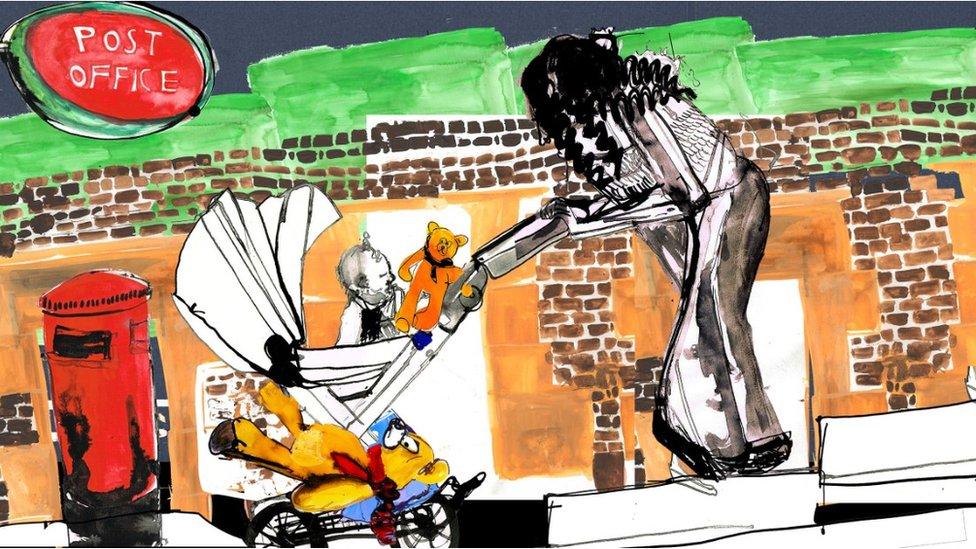 Ilustración de Emma de camino a Correos