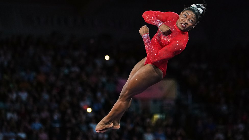 US athlete Simone Biles performing a vault at the 49th FIG Artistic Gymnastics World Championships in Germany