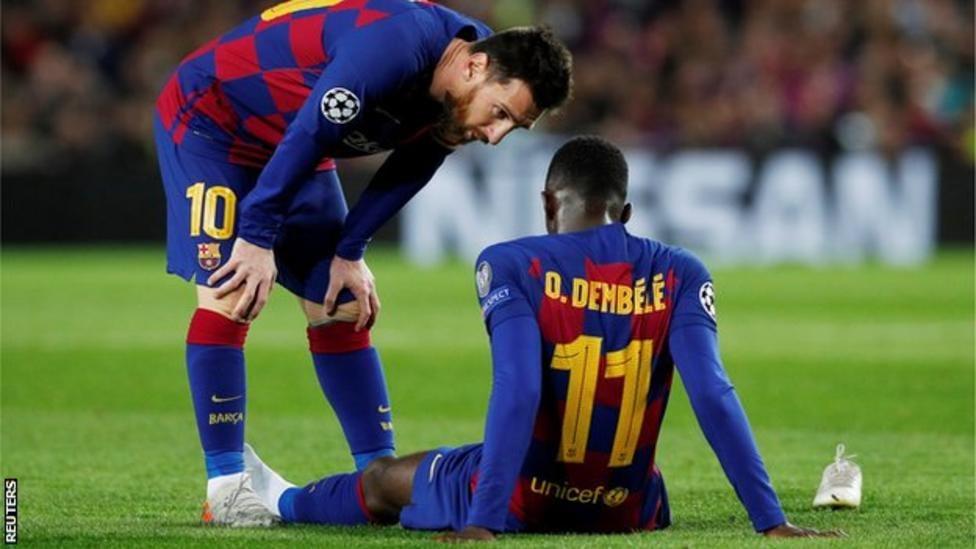 Wachezaji wa Barcelona, Lionel Messi na Ousmane Dembele