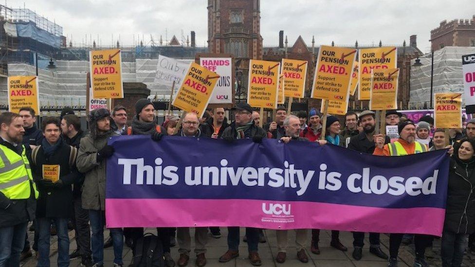 University strikers, Queen's University Belfast, 22 February 2018