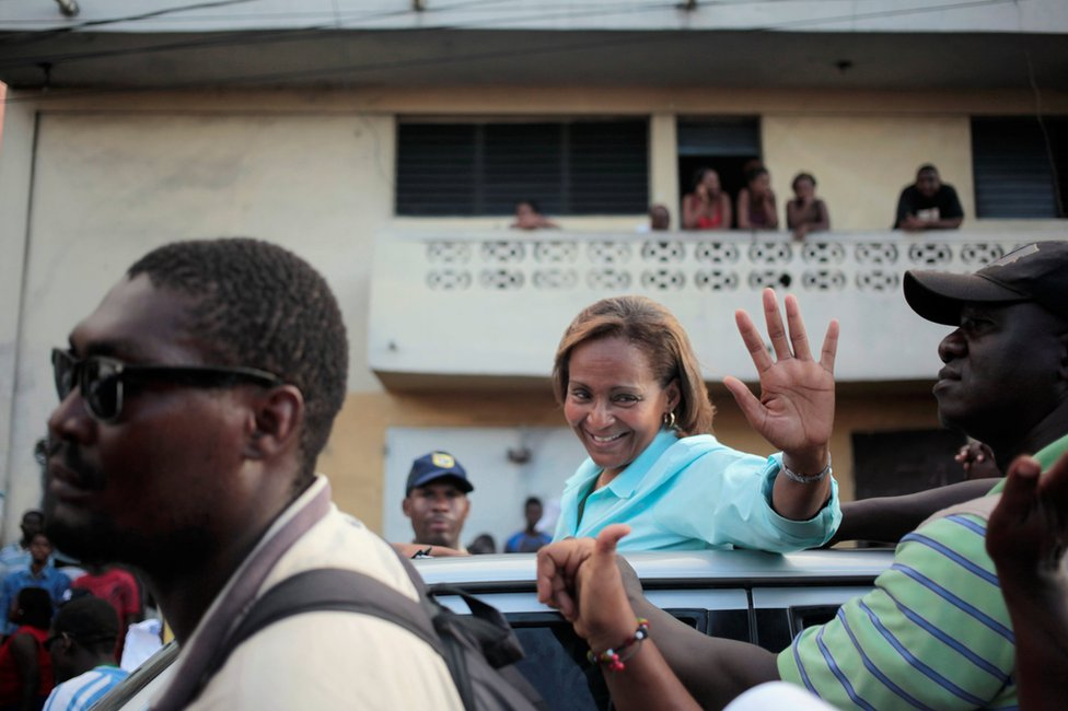 Maryse Narcisse in a street of Port-au-Prince, Haiti, 17 November