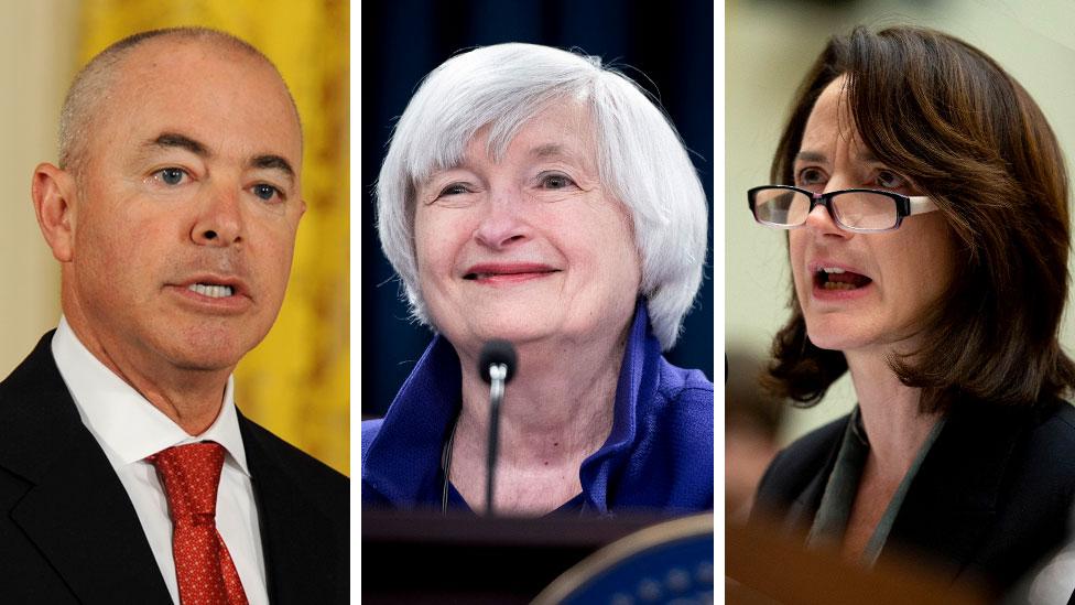L-R Alejandro Mayorkas, Janet Yellen, Avril Haines