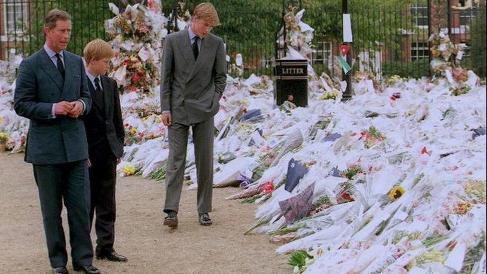 Prince Charles, Prince William and Harry At Kensington Palace looking at floral tributes