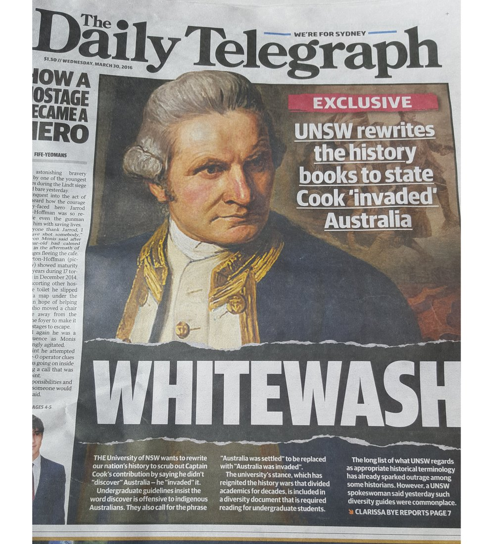 "Murdoch newspapers described the language guide as a ""highly controversial rewriting of official Australian history"""