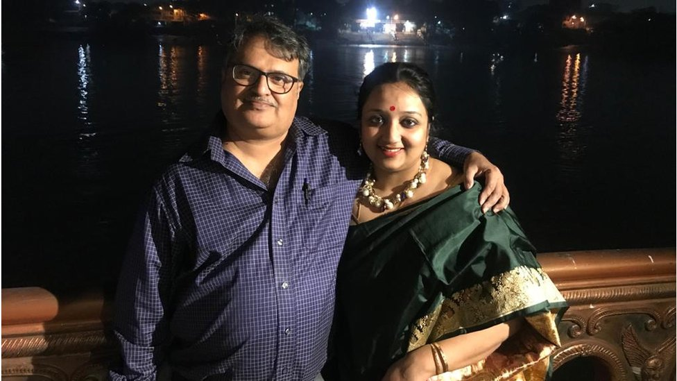 Mukherjee with his wife