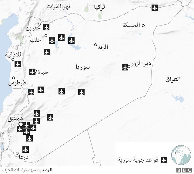 مناطق انتشار القواعد الجوية السورية