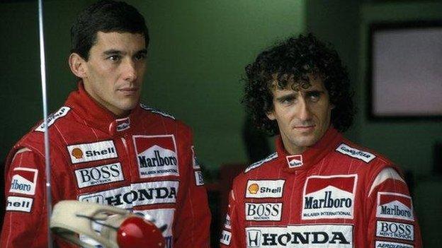 Ayrton Senna junto al francés Alain Prost.