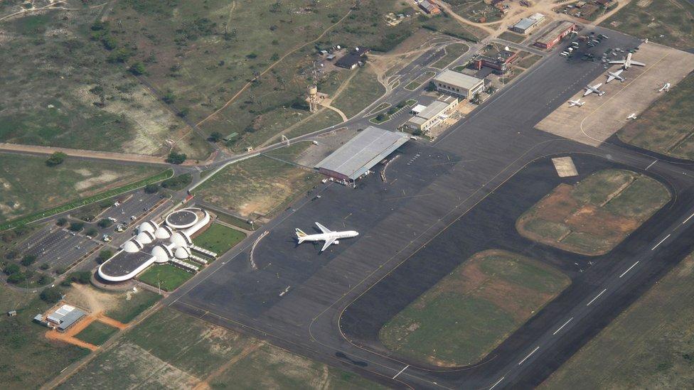 A plane of Burundi airways in Bujumbura, capital of Burundi