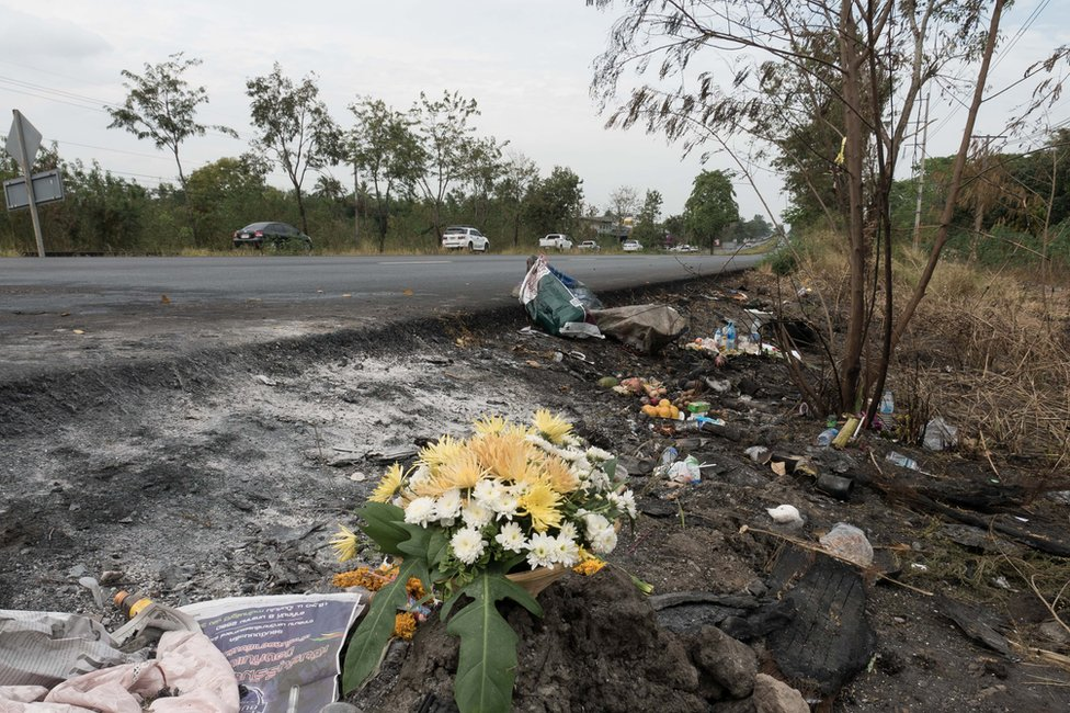 Still of the site of the 2 January collision in Chonburi, Thailand