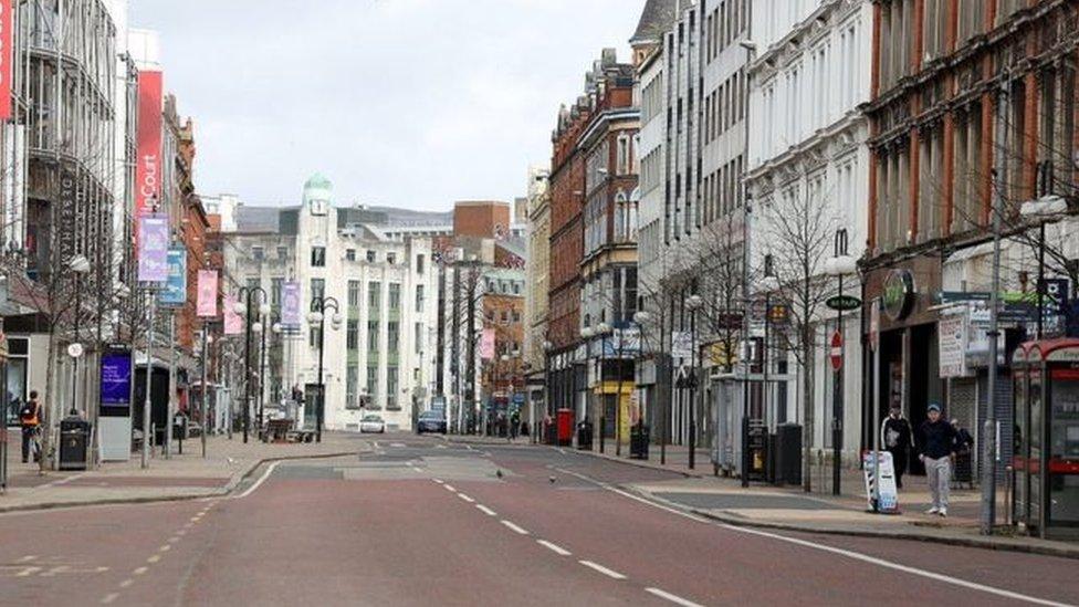 Empty Belfast City centre streets