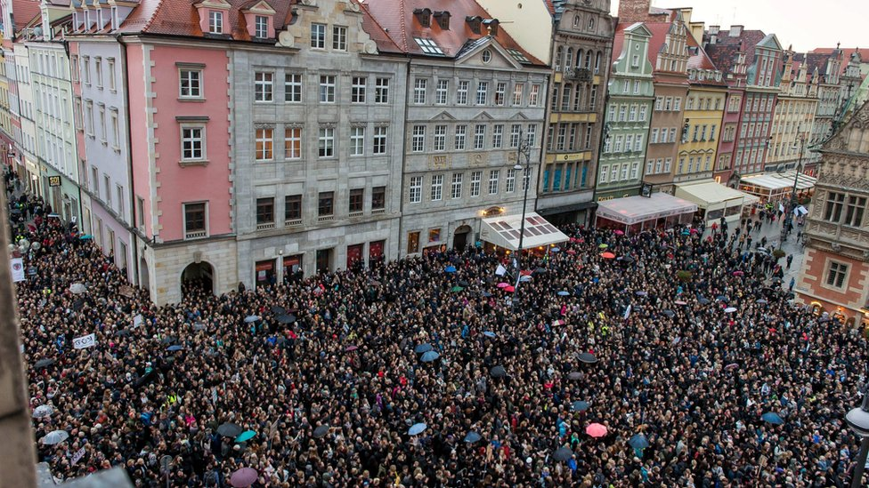 Protesters gather at the Wroclaw's Square during the nationwide women strike in Wroclaw, Poland, 03 October, 2016