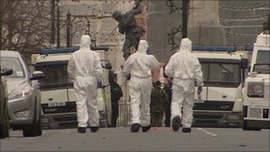 Forensic experts at the scene of Derry courthouse bomb