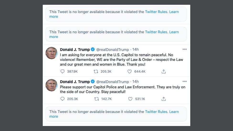 Pantallazo de mensajes en Twitter de Donald Trump