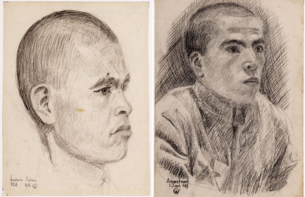 Another drawing of Hatam Kadirov (left) and an unknown prisoner