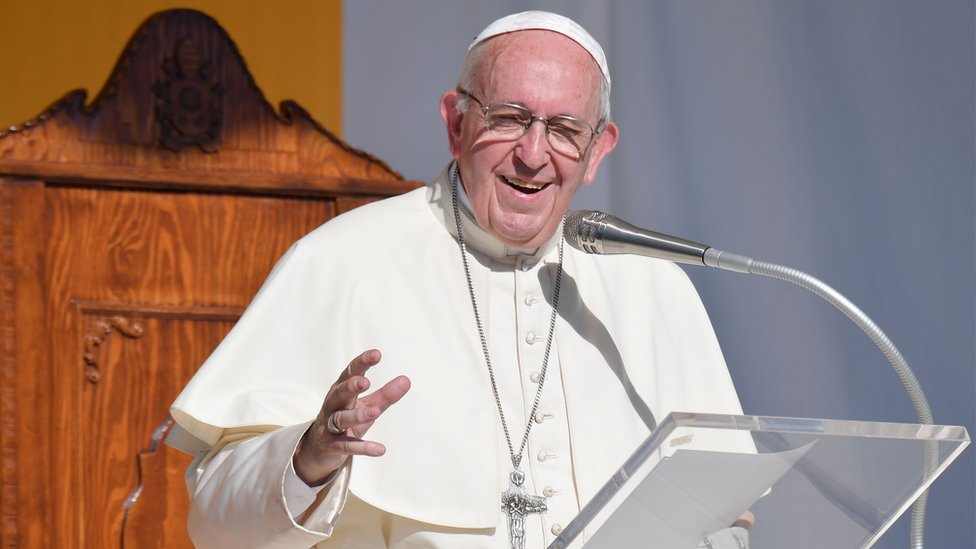 Pope Francis delivers at the Piazza Europa in Piazza Armerina, central Sicily, on 15 September 2018.