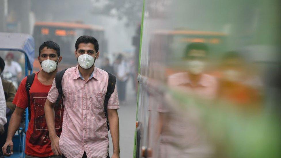 Kabut asap polusi di New Delhi 9 November 2017