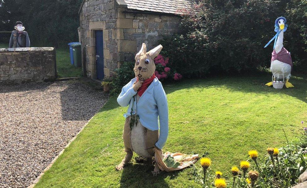 Peter Rabbit, Jemima Puddleduck and Mr McGregor scarecrows