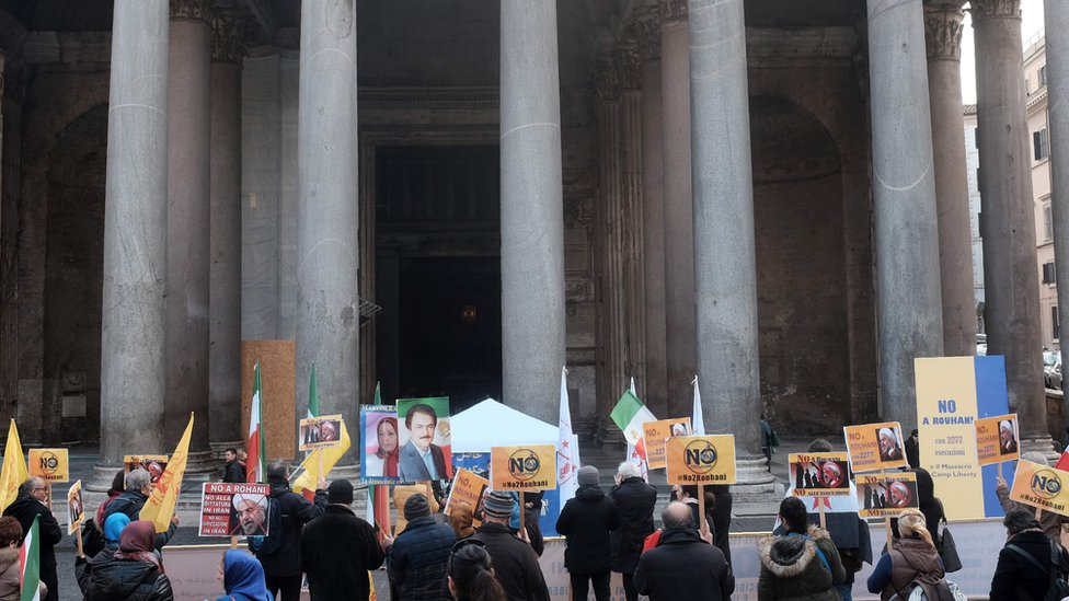 Protests against Iran's President Hassan Rouhani in Rome