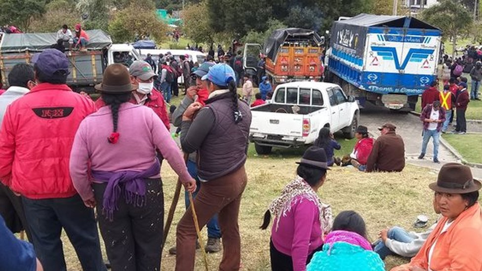 Manifestaciones de grupos indígenas en Quito.
