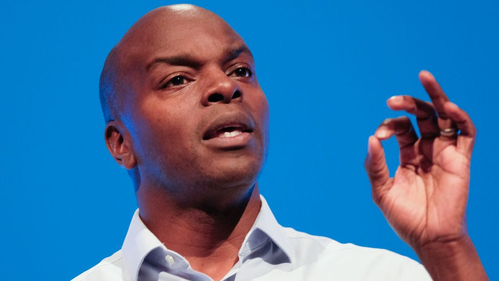 Shaun Bailey. Conservative candidate for the Mayor of London delivers a speech on the third day of the Conservative Party Conference