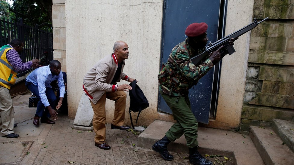 The scene at the Dusit hotel compound in Nairobi, Kenya