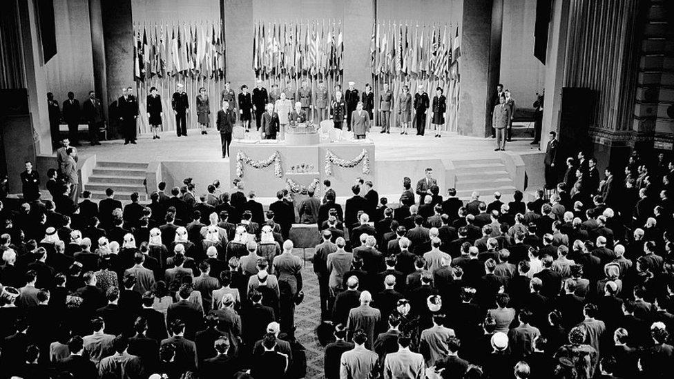 Primera reunión de la ONU en San Francisco en 1945.