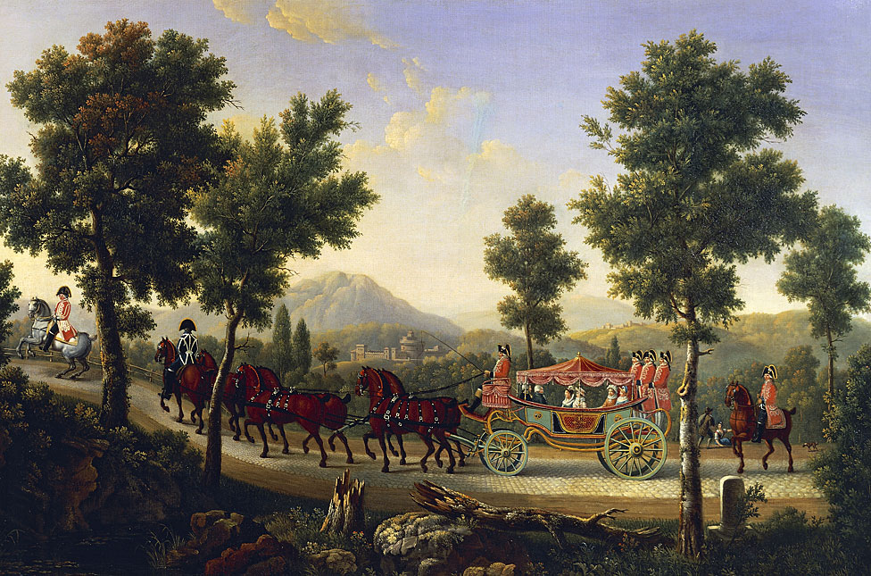 Carroza de la duquesa de Orleans, 1818, pintado por Pierre Joseph Petit (1768-1825), Francia.